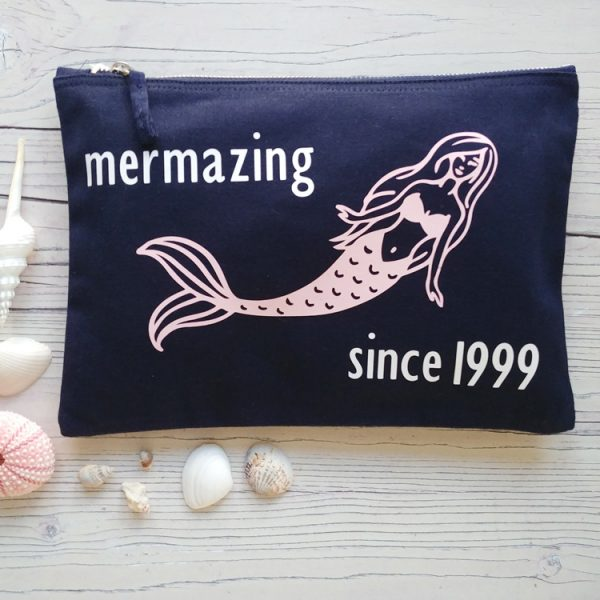 personalised mermazing navy pouch