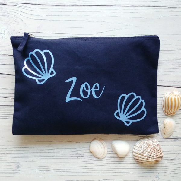 personalised shell design navy pouch