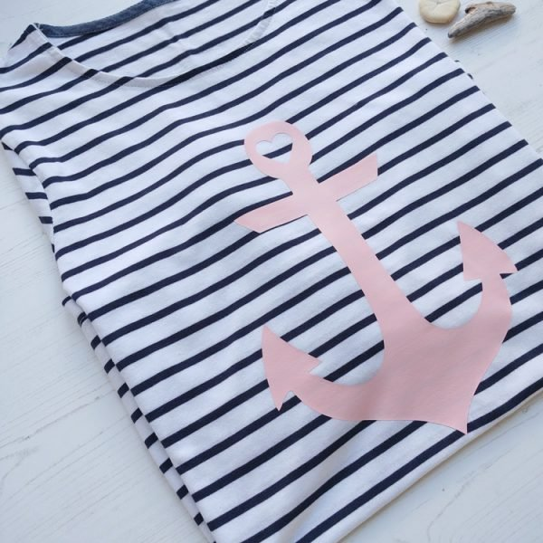 pink anchor long sleeved ladies breton tee