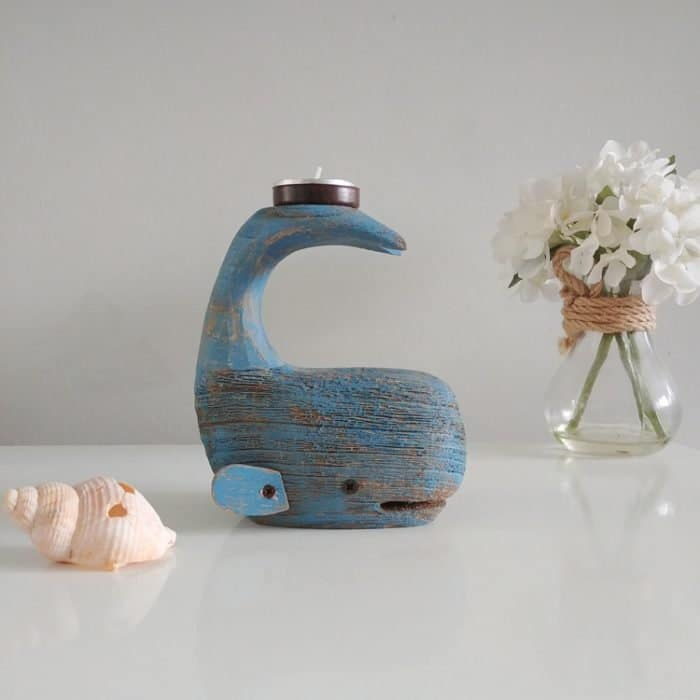 blue whale tail tea light holder