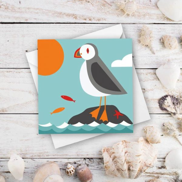 puffin and the sea greeting card