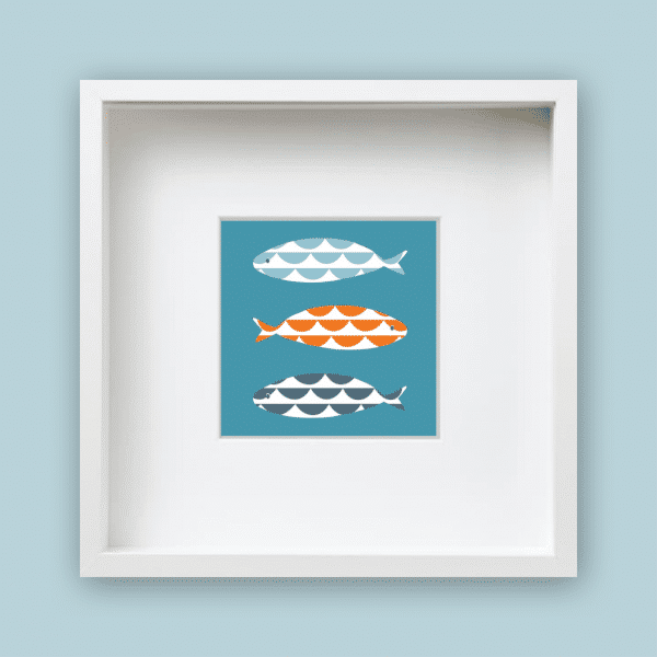wave fish framed print