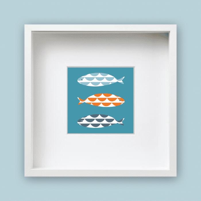 wave fish framed print