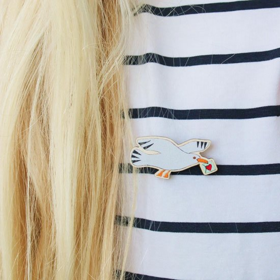 wooden seagull pin badge