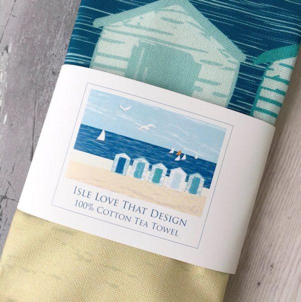 beach hut cotton tea towel