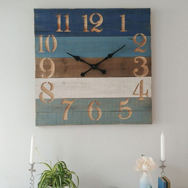 large striped wooden clock