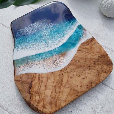 ocean wave small resin board