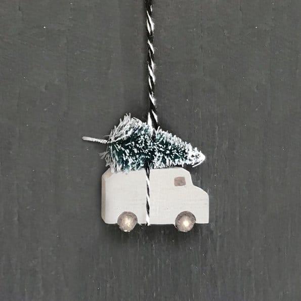 mini driving home for christmas hanging van