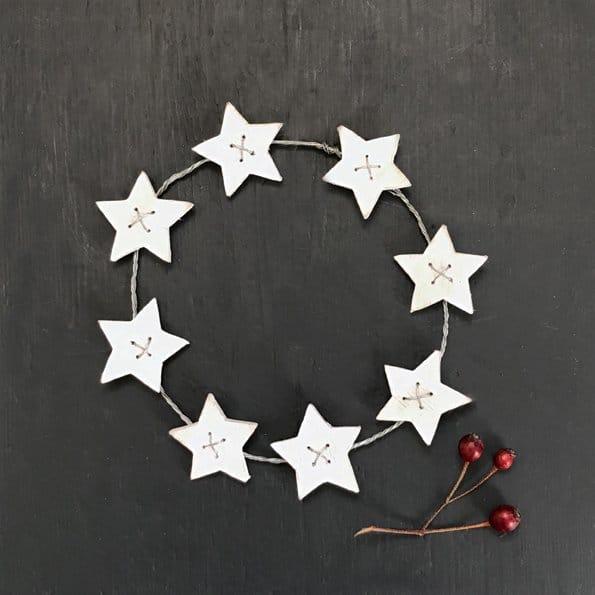 white wooden star wreath