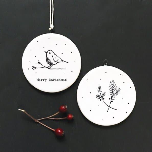 christmas robin flat porcelain bauble