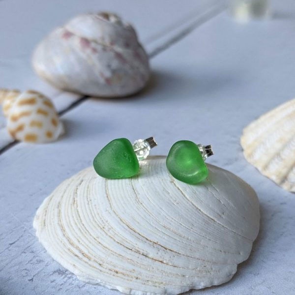 green seaglass sterling silver stud earrings