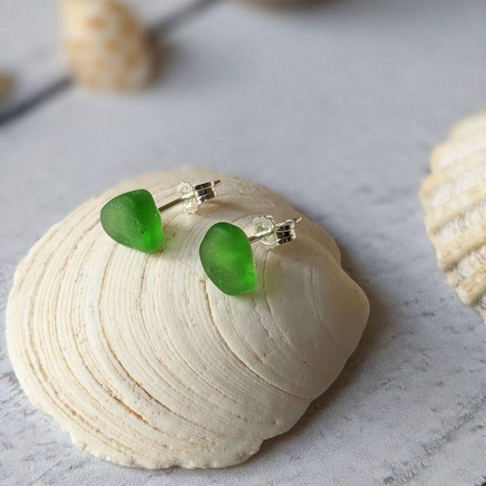 green seaglass sterling silver stud earrings