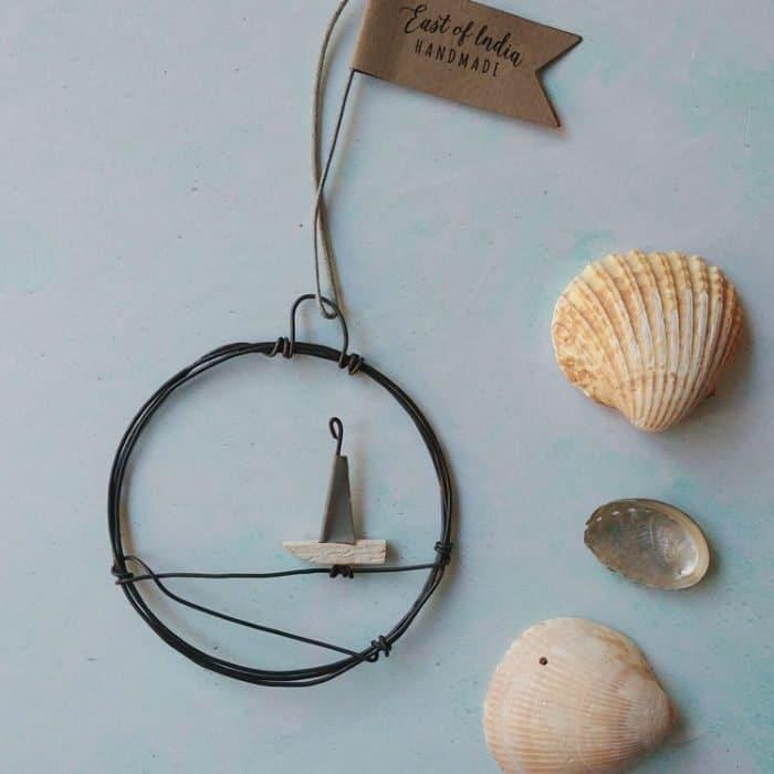 mini sail boat metal wreath