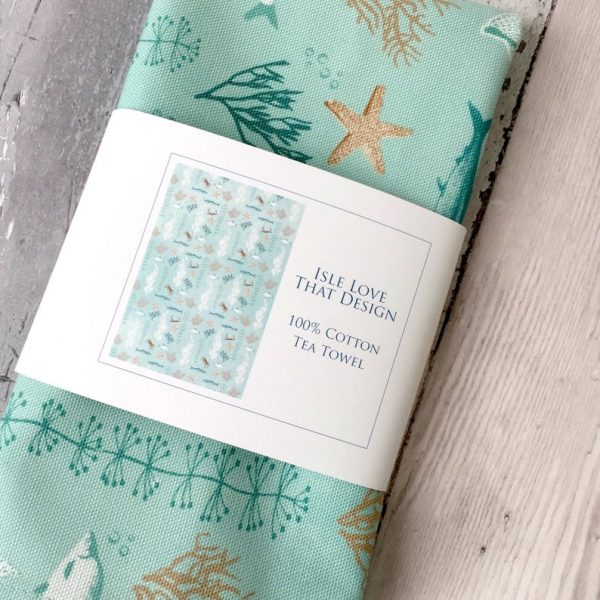 under the sea tea towel