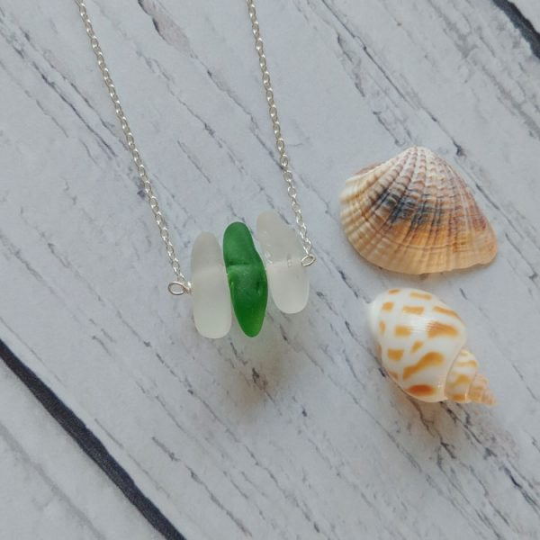 seaglass bar pendant necklace