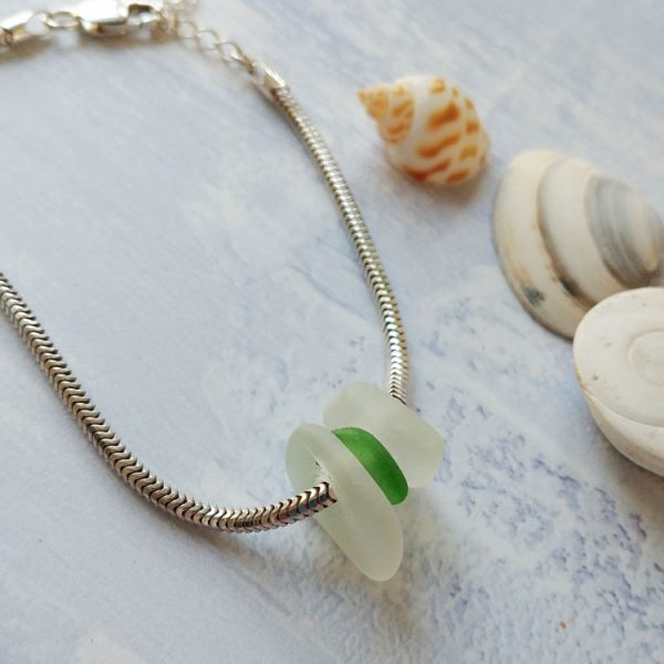 summer dreams seaglass sterling silver bracelet