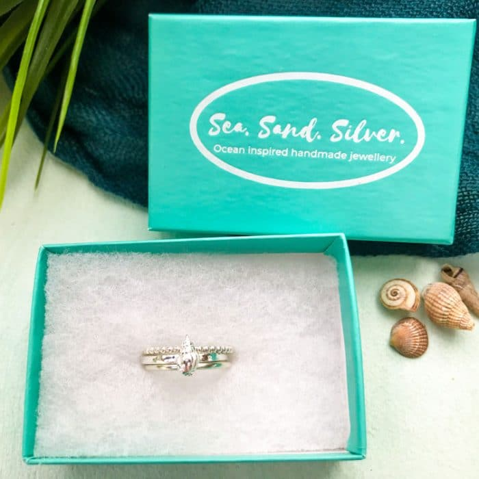 Set of 3 Stacking Rings with a Whelk Shell