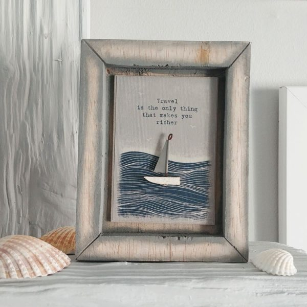 travel makes you richer boxed framed picture