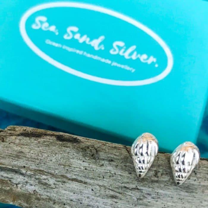 Whelk Shell Stud Earrings