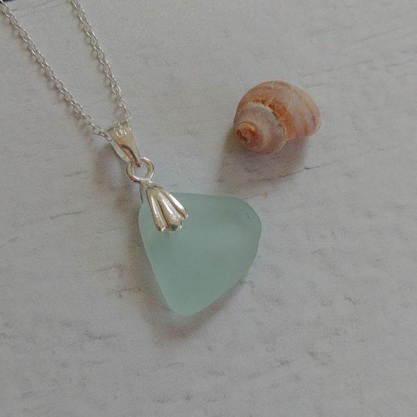 aqua wave seaglass pendant necklace