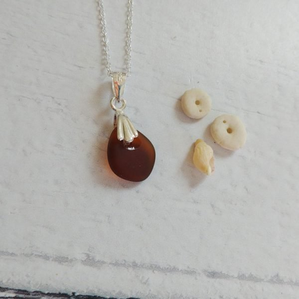 brown seaglass pendant necklace