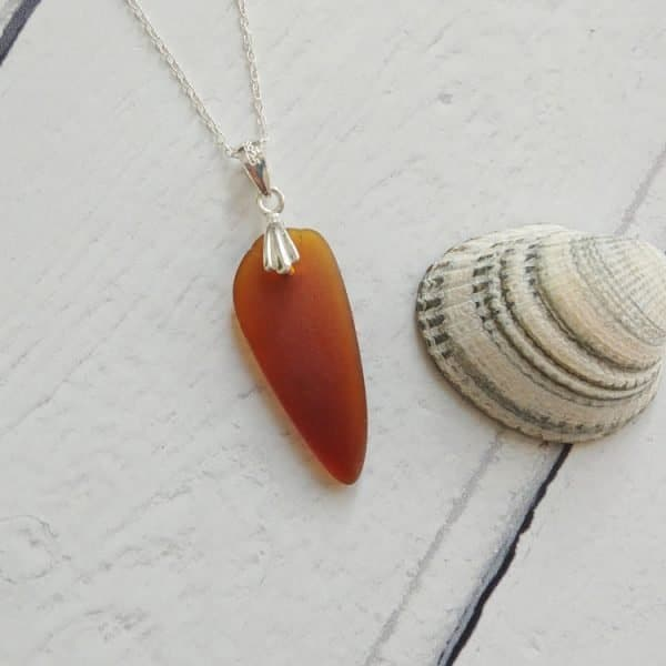 choppy seas brown seaglass pendant necklace