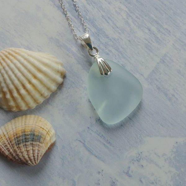 clear seaglass pendant necklace
