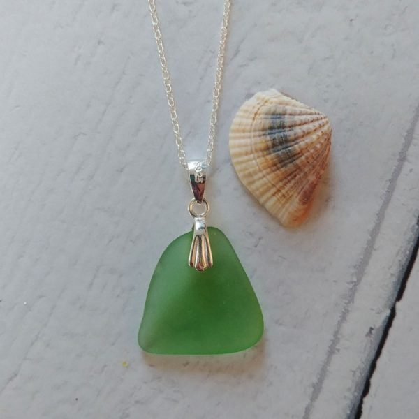 green wave seaglass pendant necklace