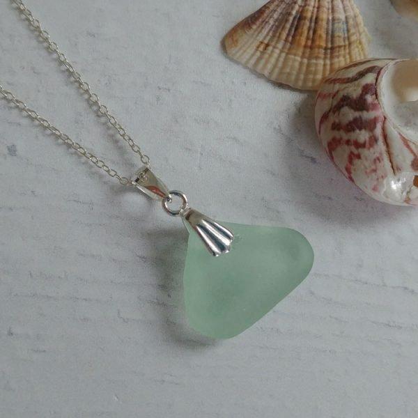 summer wave light blue seaglass pendant necklace