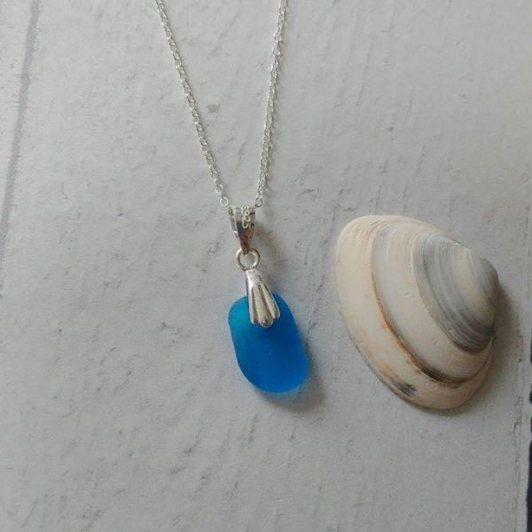 blue seaglass pendant necklace