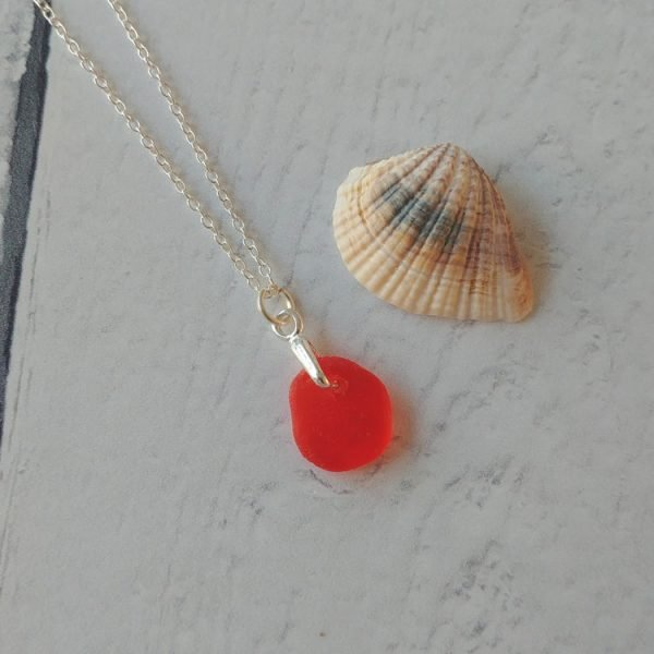 bright red seaglass pendant necklace
