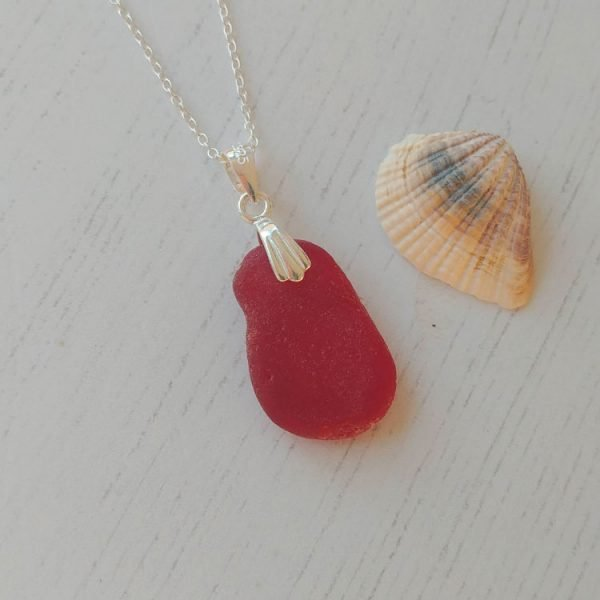 beautiful large red seaglass pendant necklace