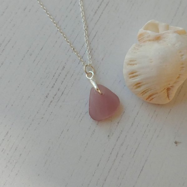 rare lilac seaglass pendant necklace