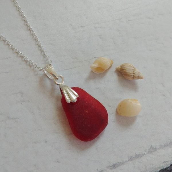 beautiful red seaglass pendant necklace