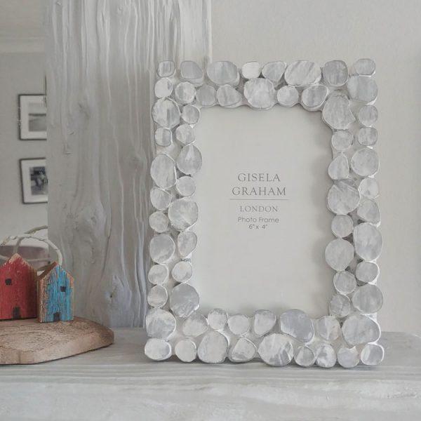 white wash pebble resin photo frame