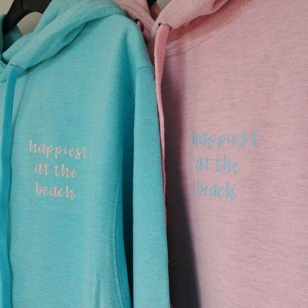 happiest at the beach ladies hoodie