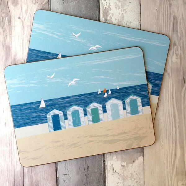 beach huts placemats and coasters