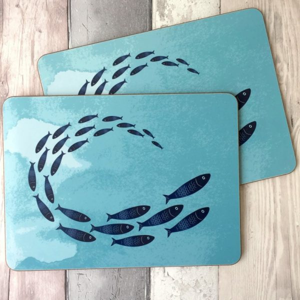 fish shoal placemats and coasters