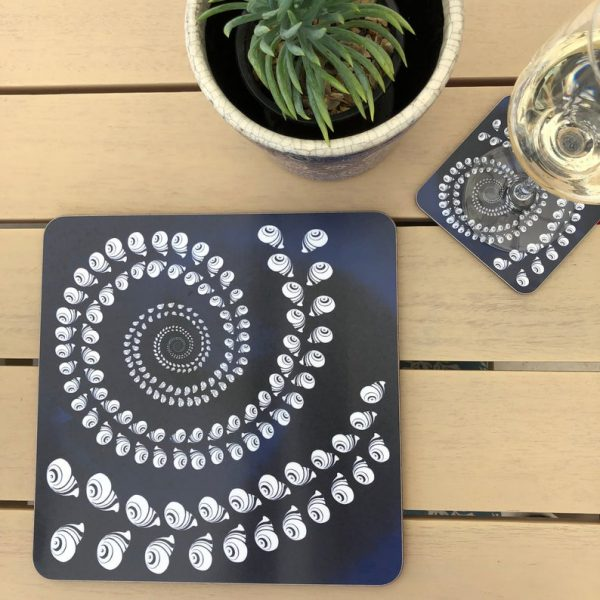 navy spiral shells placemats and coasters