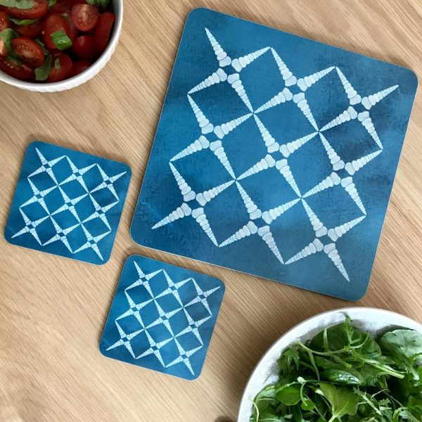 geometric shellls teal placemats and coasters
