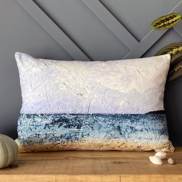 Seascape cushion – 'Long Rock, Cornwall' handmade cushion