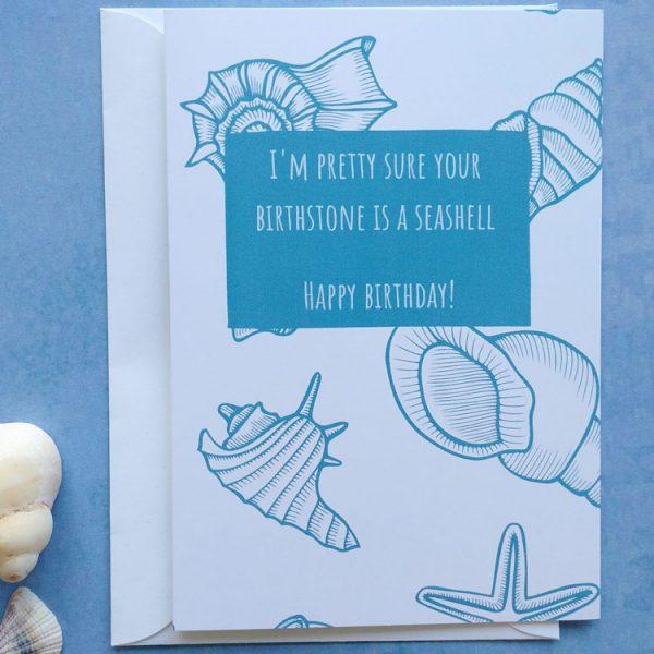 seashell birthstone birthday card