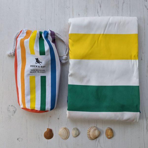 rainbow skies round beach blanket