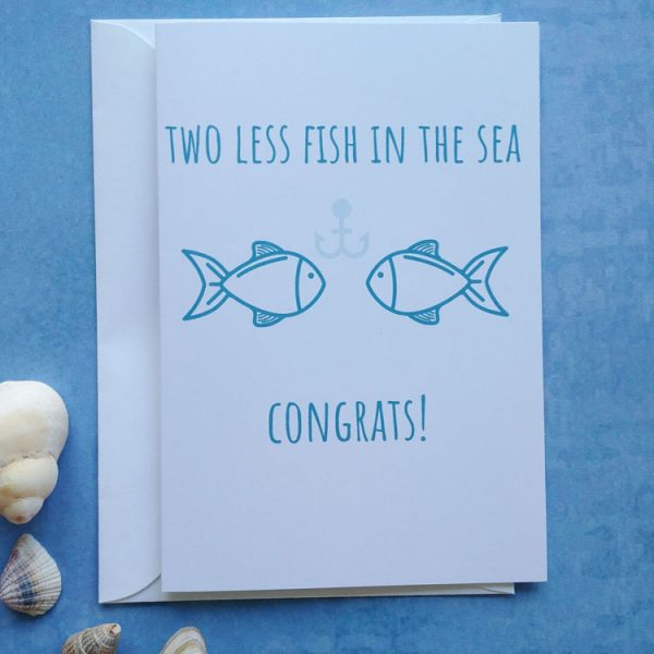 two less fish congratulations card