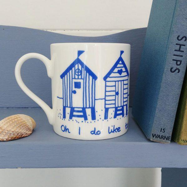 blue beach hut oh I do like to be beside the seaside mug