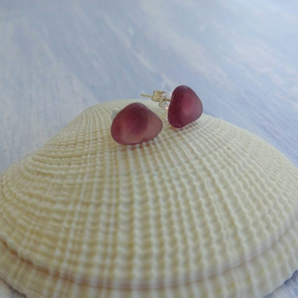 dark purple seaglass stud earrings