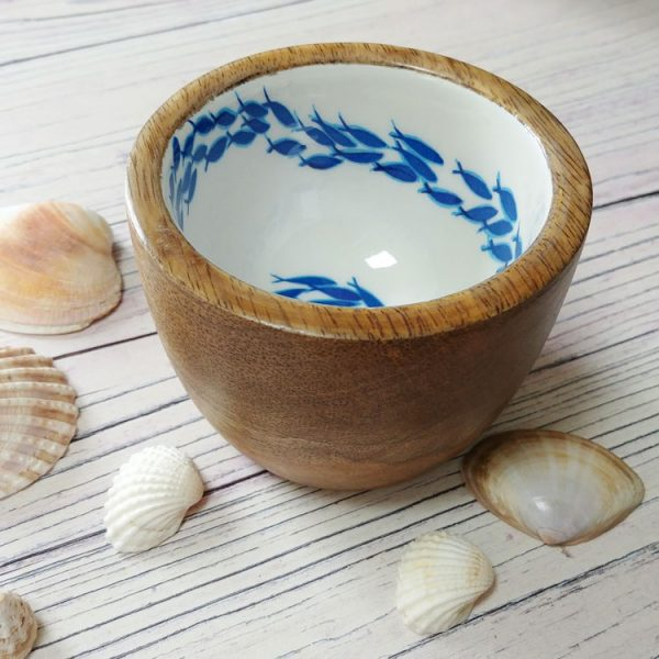 ocean fish mini wooden bowl