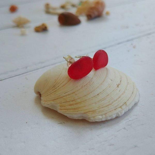 red seaglass earrings