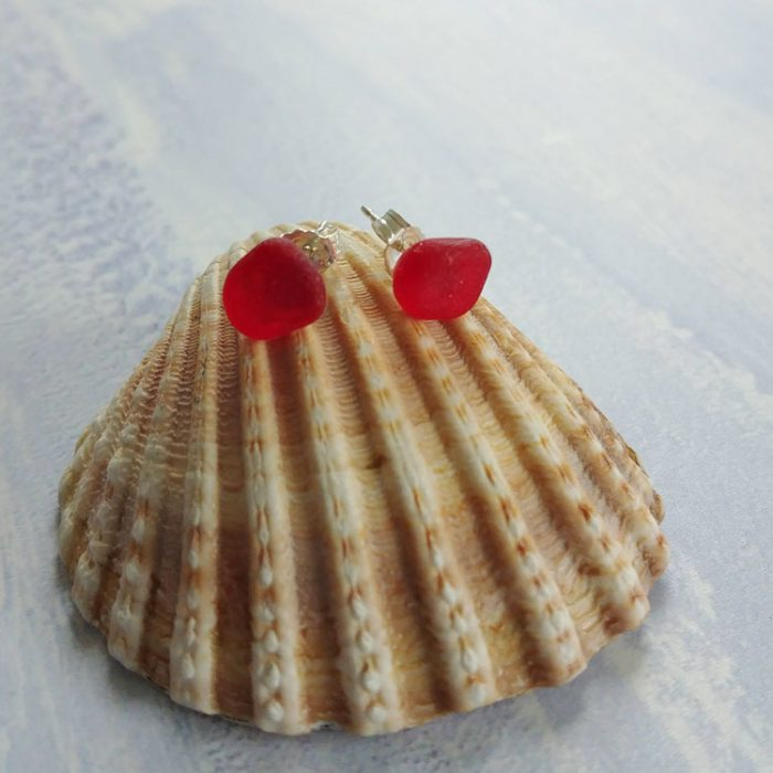 red seaglass stud earrings