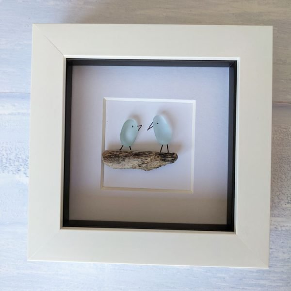 love birds framed seaglass picture